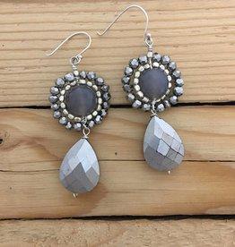 Merx Grey and Black Swarovski Crystal Teardrop Earring