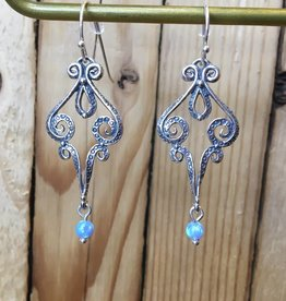 Shablool Swirly Open Earring with Opal Drop