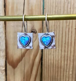 Shablool Square Earring with Opal Heart
