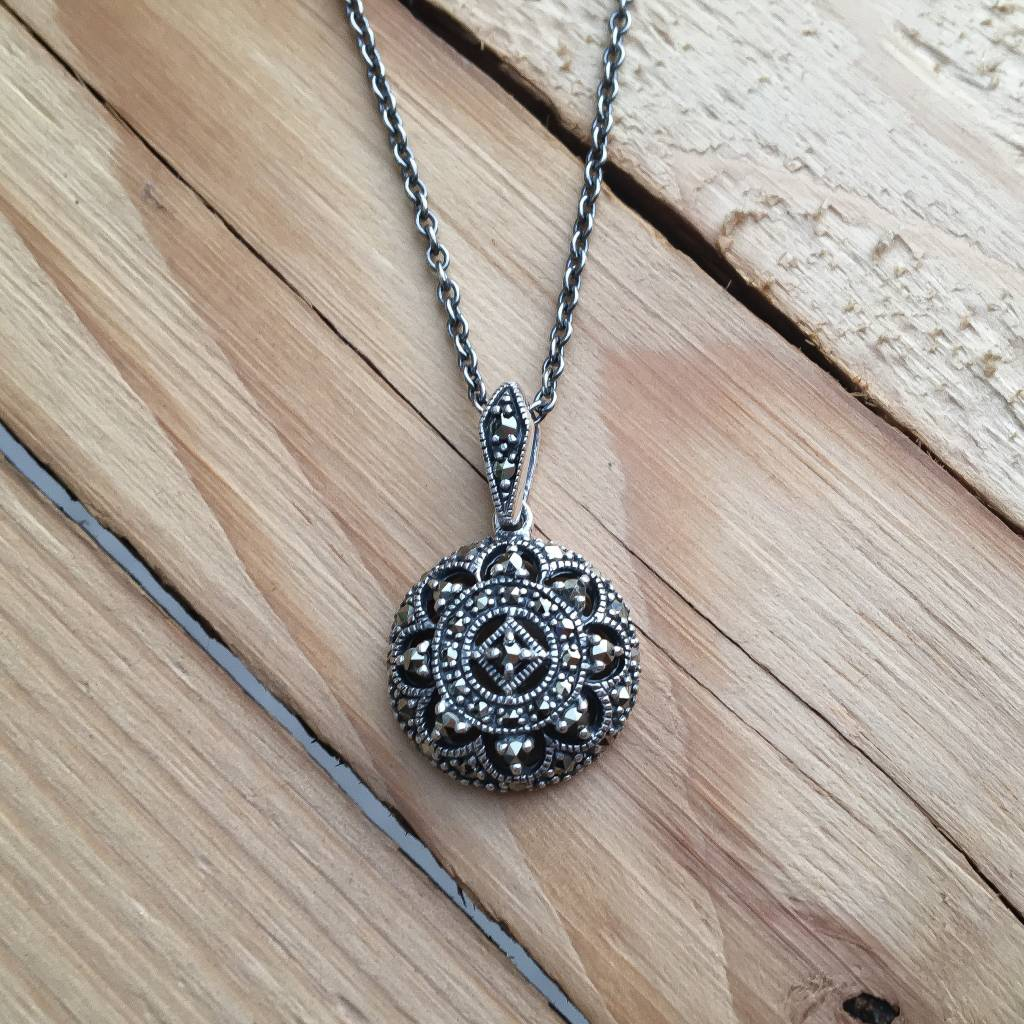 Larus Sterling Silver Marcasite Necklace