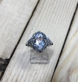 Larus Marcasite and oval Clear Topaz Ring
