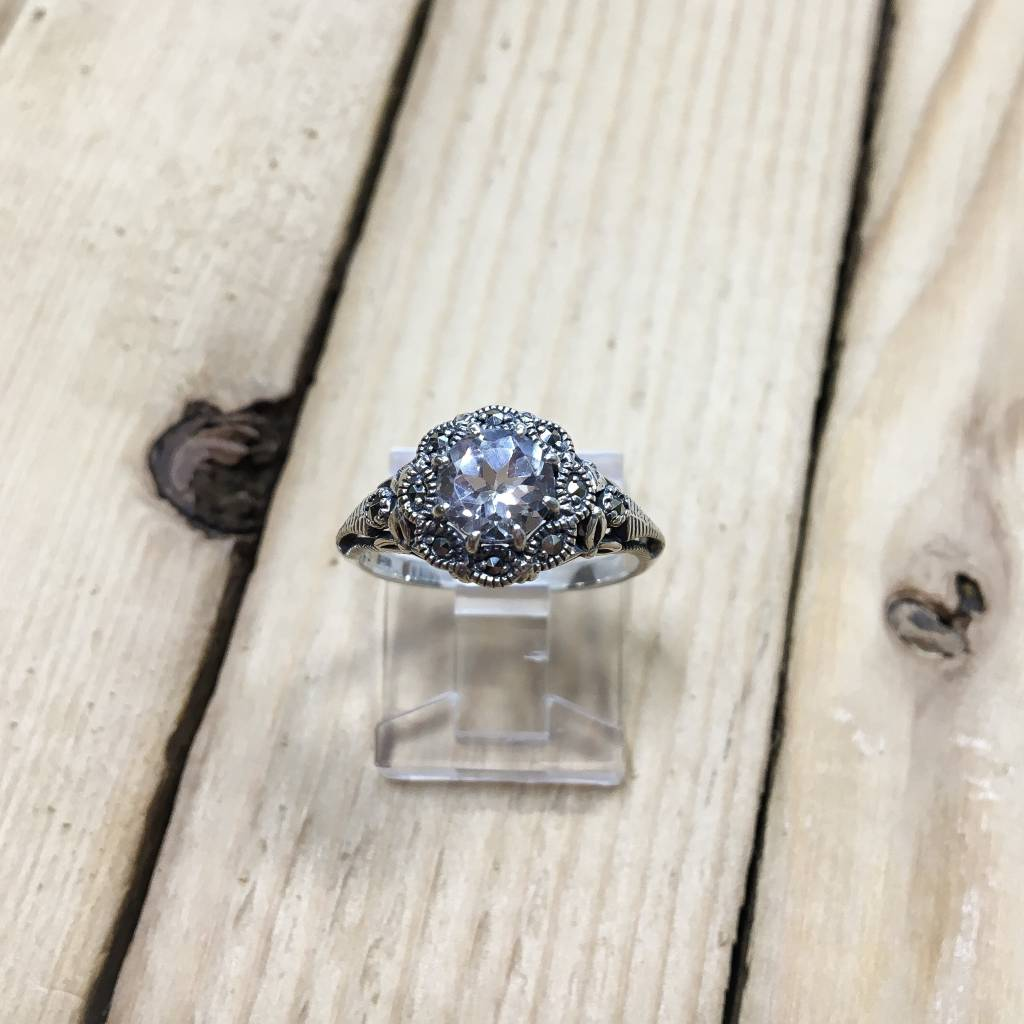 Larus Marcasite Ring with circular Clear Topaz