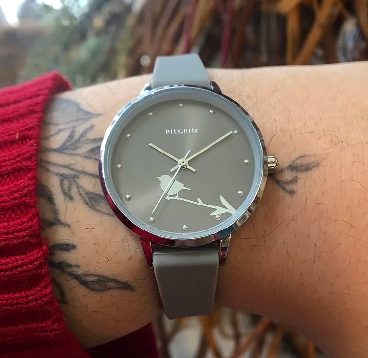 Pilgrim Clare Watch- Silver/Grey Bird