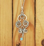 "Shablool Silver Swirls Pendant w Opal Drop on 20"" Rolo"