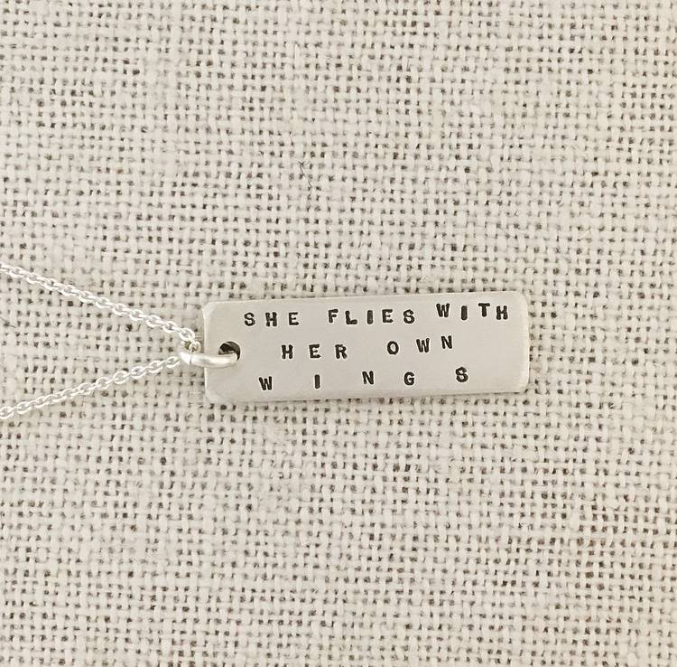 Andrea Waines AW Bookmark Pendant- She Flies With Her Own Wings