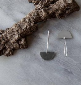 Olive Cedar Half Moon Drop Earrings: Blank