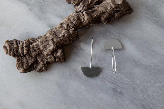 Olive Cedar Half Moon Drop Earrings: Blank
