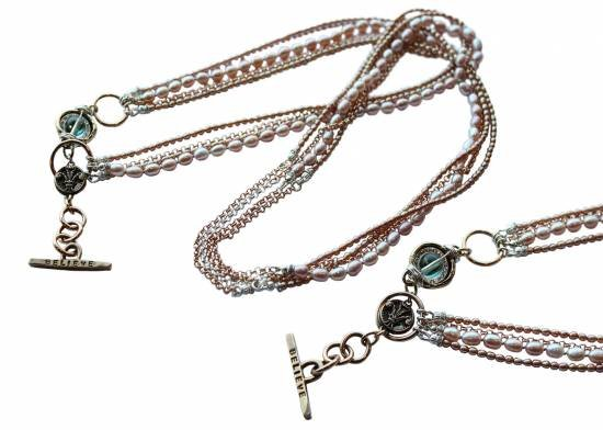"Karyn Chopik Karyn Chopik Pink Pearl and Rose Gold Chain Necklace 36"""
