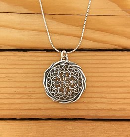 "Shablool Silver Circle Filigree Necklace on 18"" Snake"