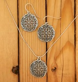 "Shablool Silver Circle Filigree Necklace on 18"" Snake"