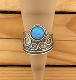 Shablool Sterling Single Opal Swirl Ring SZ 7