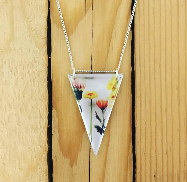 """Black Drop Designs Black Drop Mirror Necklace- Bouquet 18"""""""
