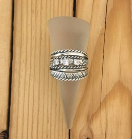 Shablool Sterling Textured Strands Ring w CZ Sz 8