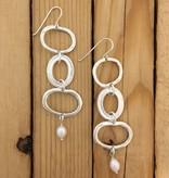 Shablool Sterling Long Triple Link Earring w Pearl