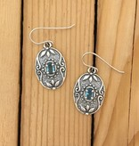 Shablool Sterling Oval Earring w Blue Crystal
