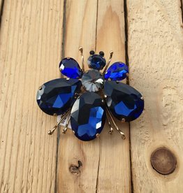 Only Accessories Blue Crystal Bug Pin