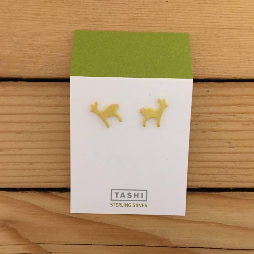 Tashi Wee Deer Stud- Brushed Gold