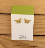 Tashi Brushed Gold Butterfly Stud