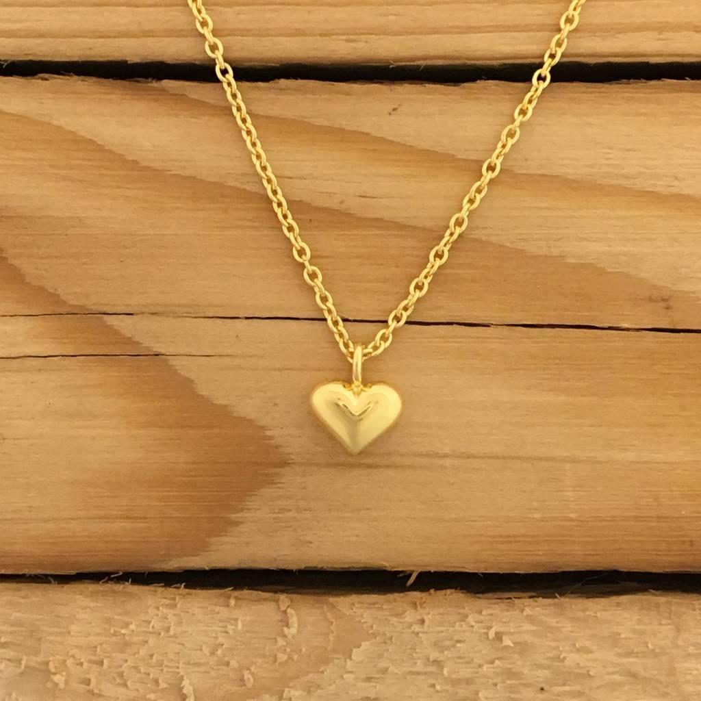 "Tashi 14K Gold Vermeil Tiny Heart Necklace 16-18"""