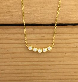 Tashi 14 kt Gold Vermeil CZ Row Necklace 16-18""