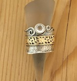 Shablool Silver Ring w Gold Detailed Strip and CZ Sz 7