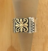 Shablool Silver Hammered Band w Gold Centre Detail Sz 6