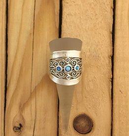 Shablool Wide Silver Swirl Ring w Opal Sz 9
