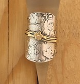 Shablool Long Silver Vine Ring with Gold Band and Flower Sz 7