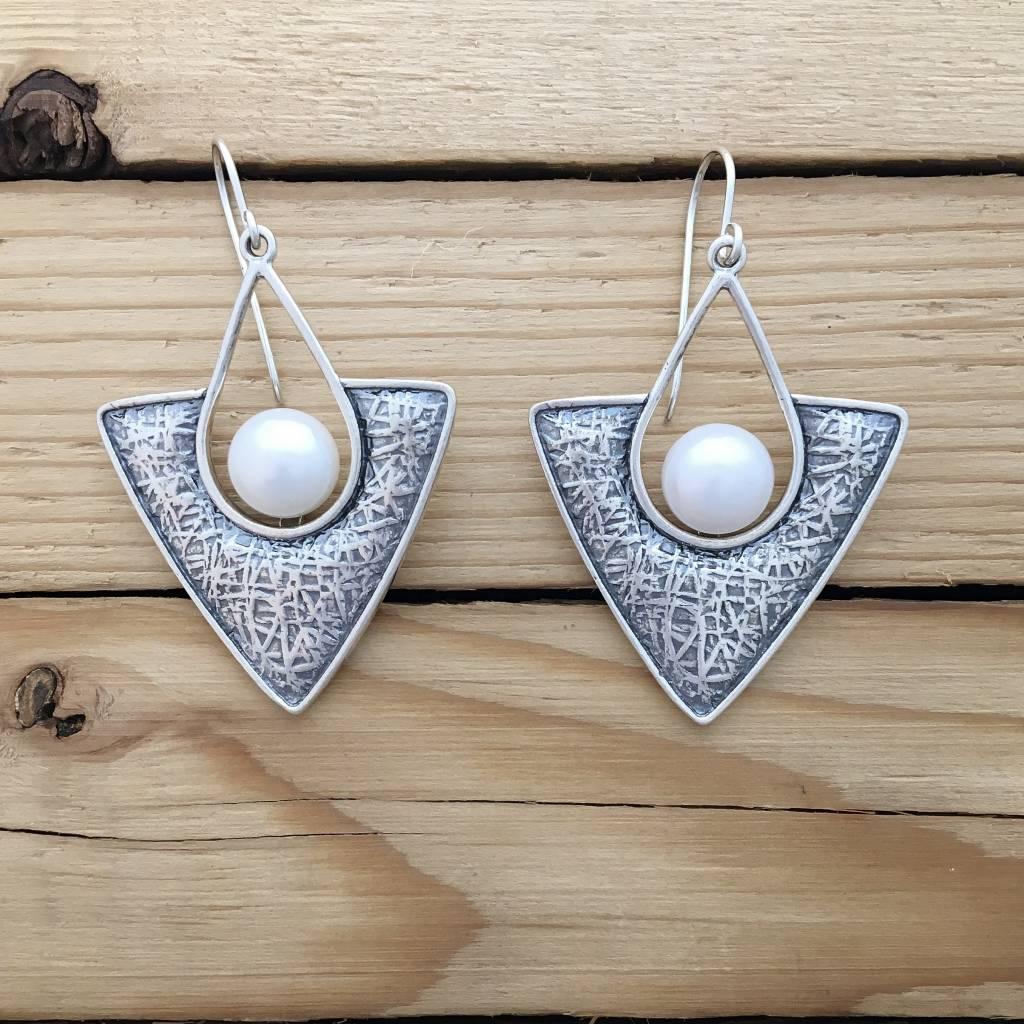 Shablool Triangle Drop Earring w Pearl