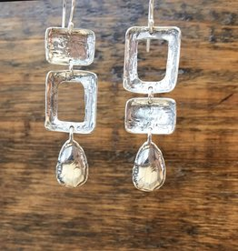 Shablool Silver Square/Tear Drop Earrings