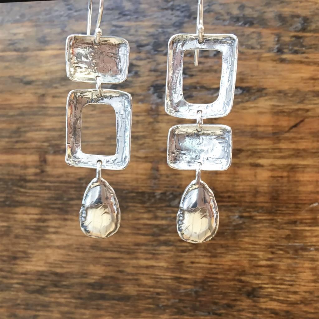 Shablool Silver Square/Tear Drop Earrings