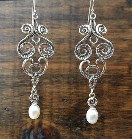 Shablool Swirly Earring w Pearl Drop