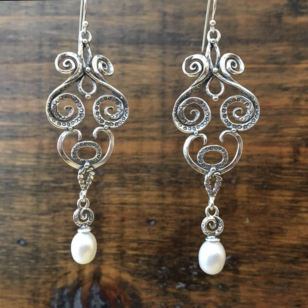 Shablool Swirly Earring w Pearl Drop