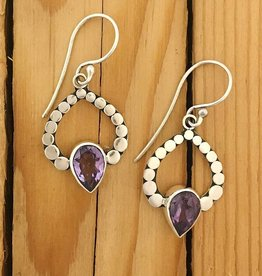 Dotted Ray Amethyst Earring
