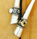M Style Long Silver Drop Earrings w Citrine
