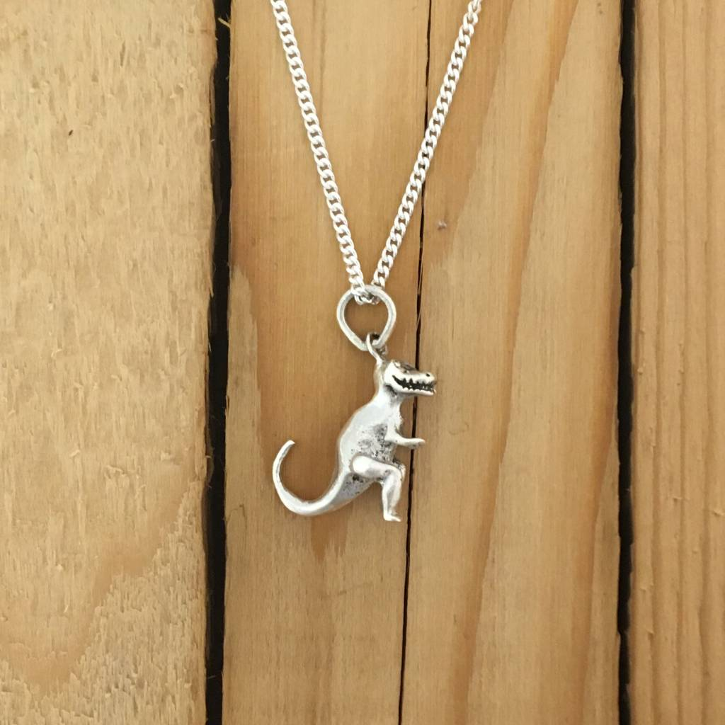 """M Style Sterling Dino Pendant on 18"""" Curb"""