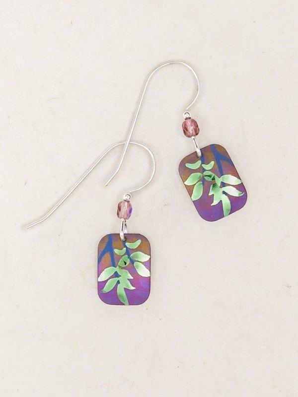 Holly Yashi Purple/Lime Evergreen Leaf Earrings