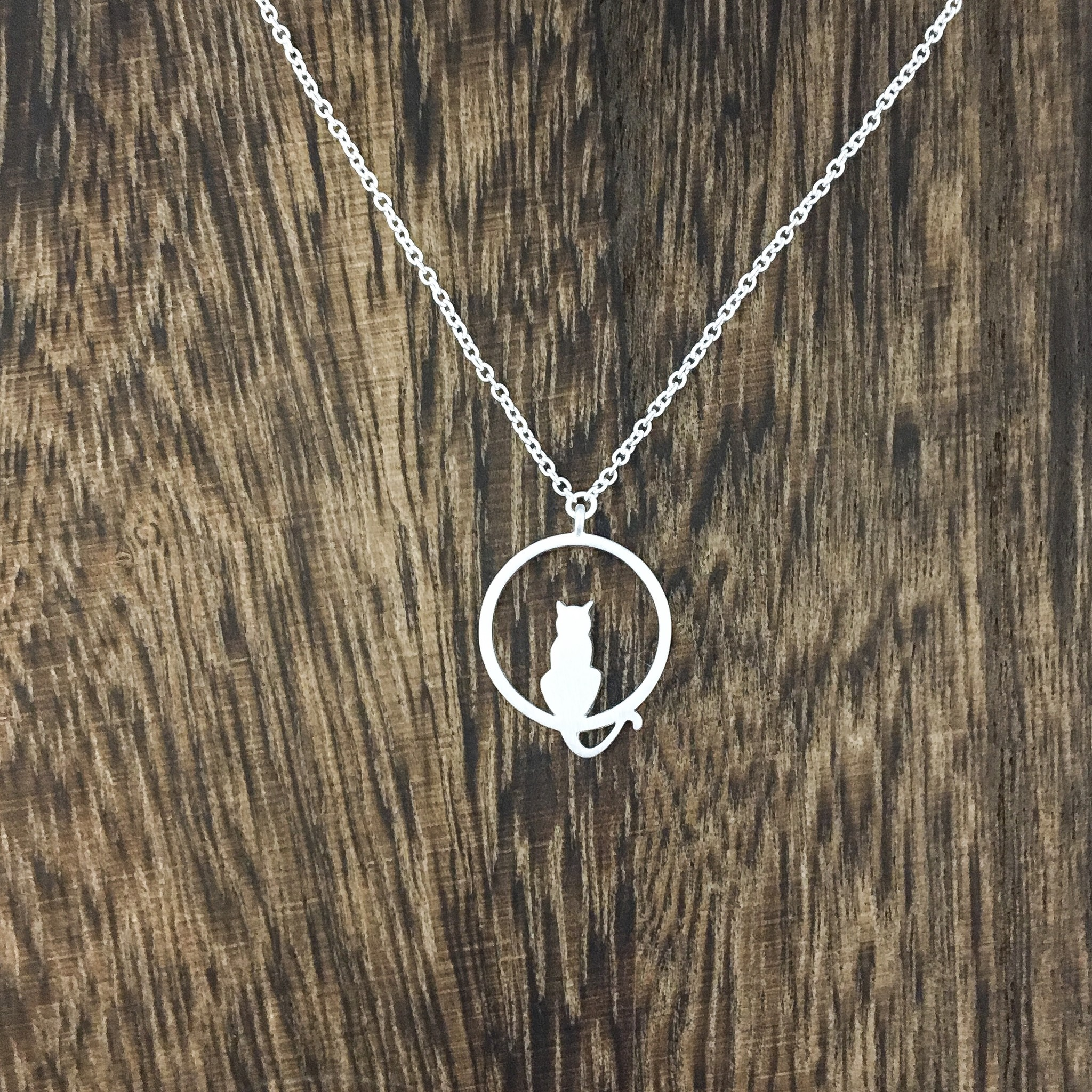 Tashi Cat in circle Necklace