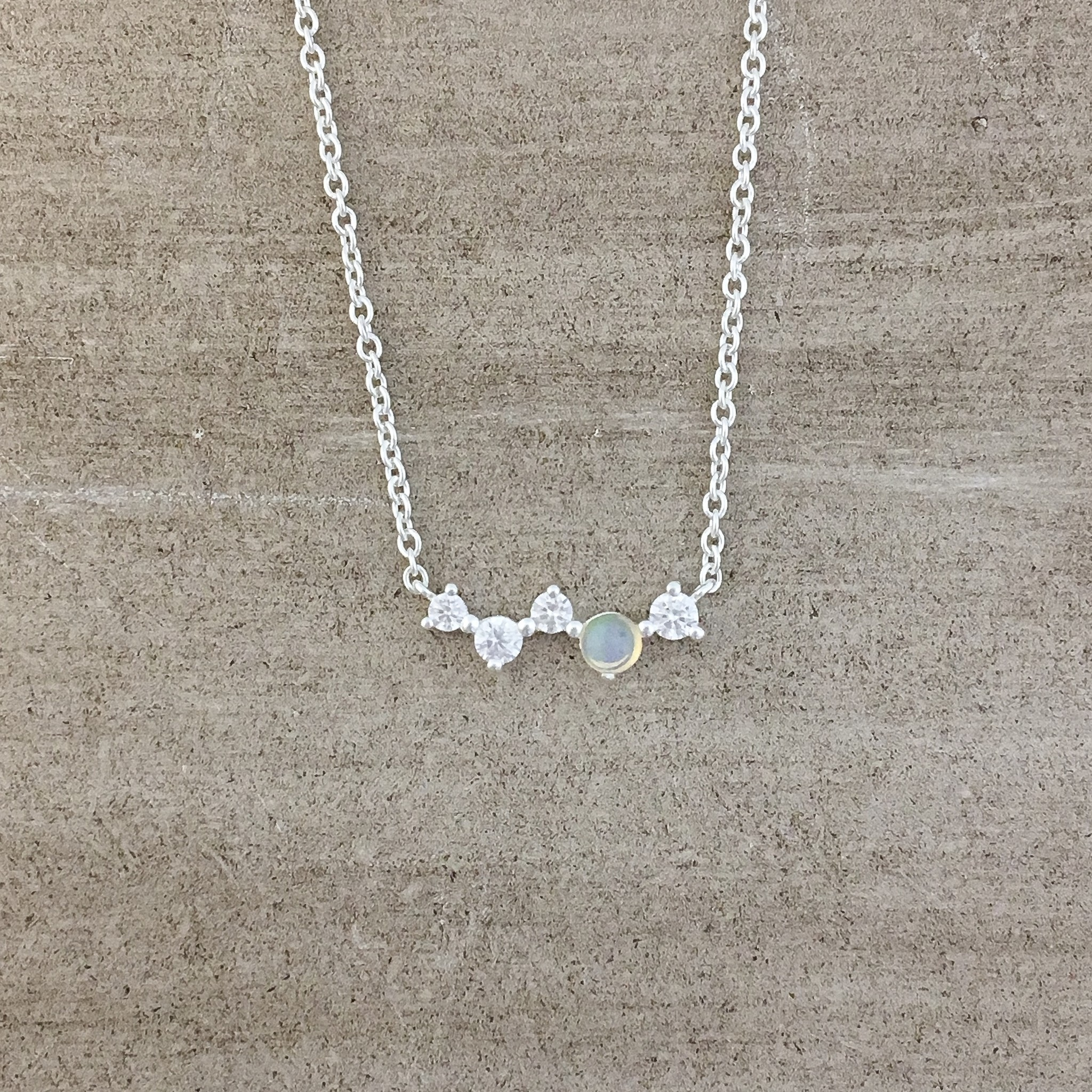 Tashi Silver Cz and Tiny Pearl Necklace