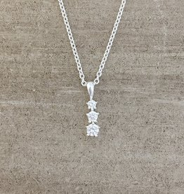 Tashi Silver 3 stacked CZ Necklace