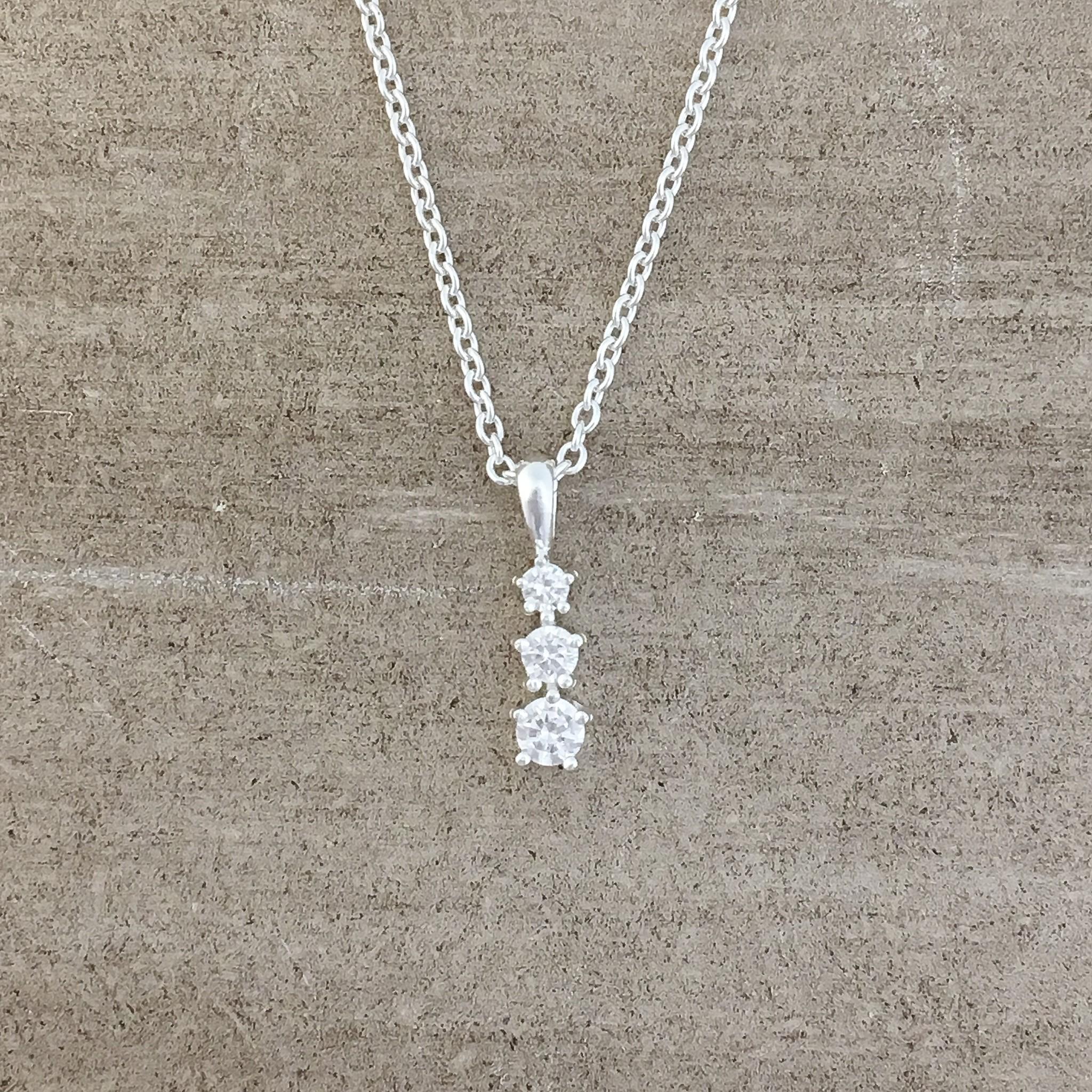 Tashi Silver 3 stacked CZ Necklace