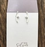 Tashi Silver Soft Curve Stud w Cz