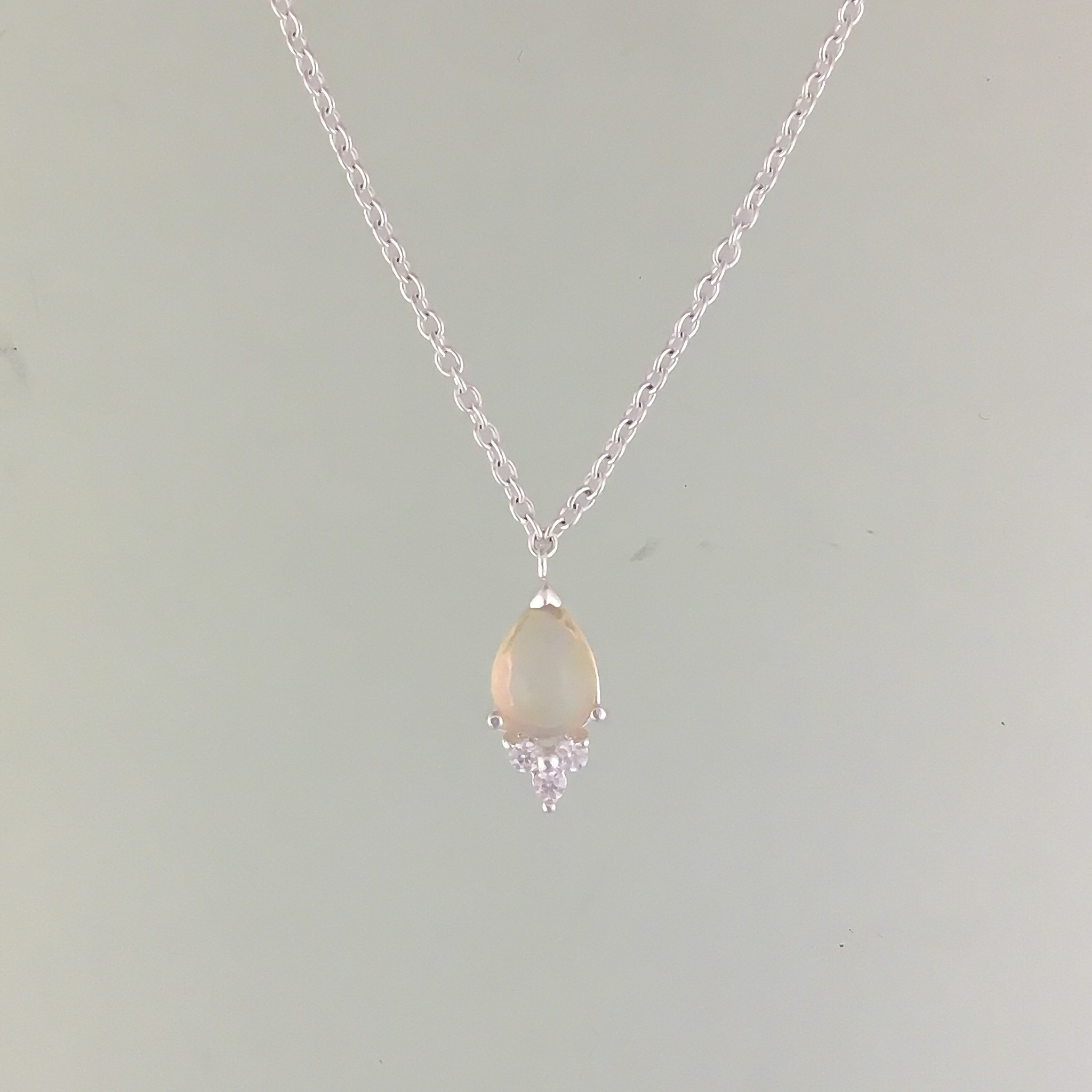 Tashi Tashi Pear Opal Necklace with CZ