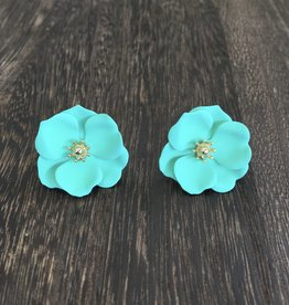 Biwa Teal Flower Studs