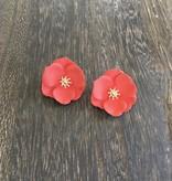 Biwa Red Flower Studs