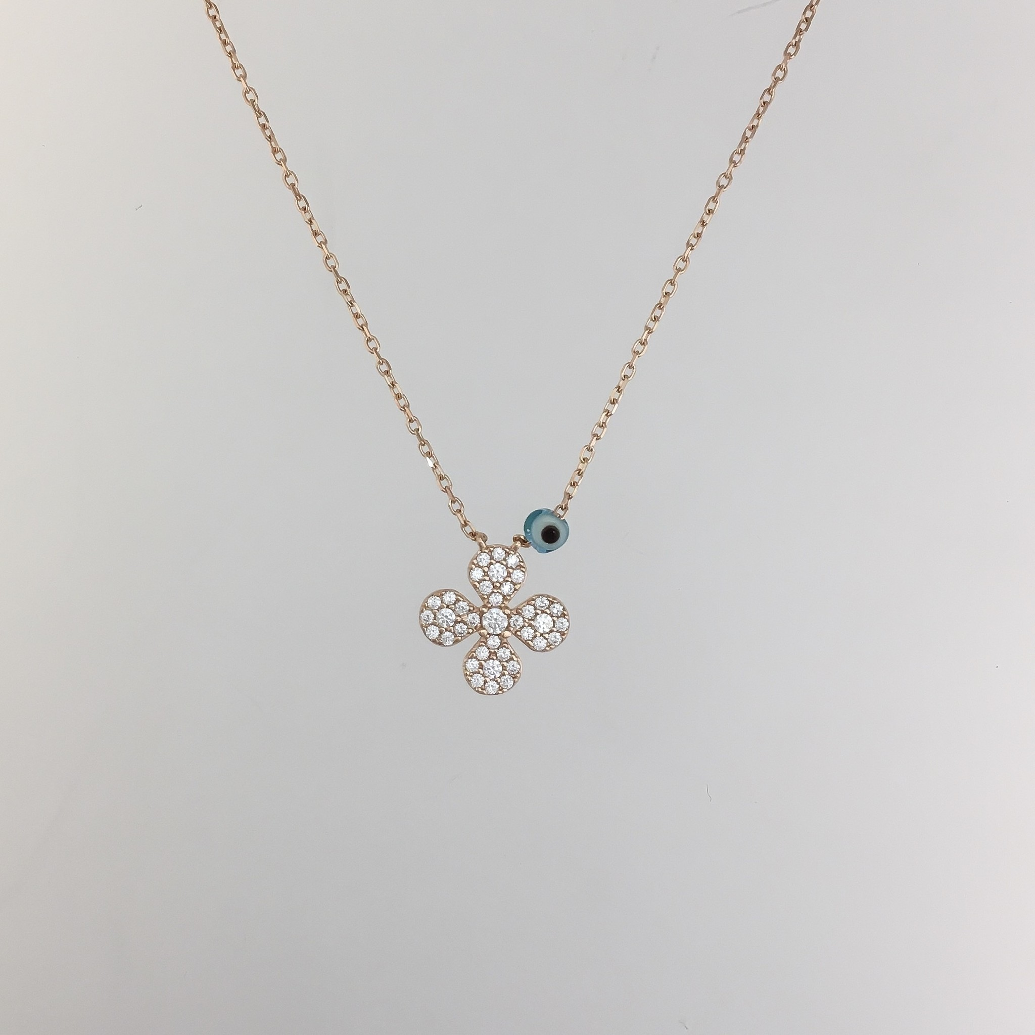 Kurshuni Jewellery Rose Gold Flower Necklace