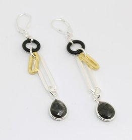 Elizabeth Burry Desgins DYLAN Earring- Black Rutilated Quartz