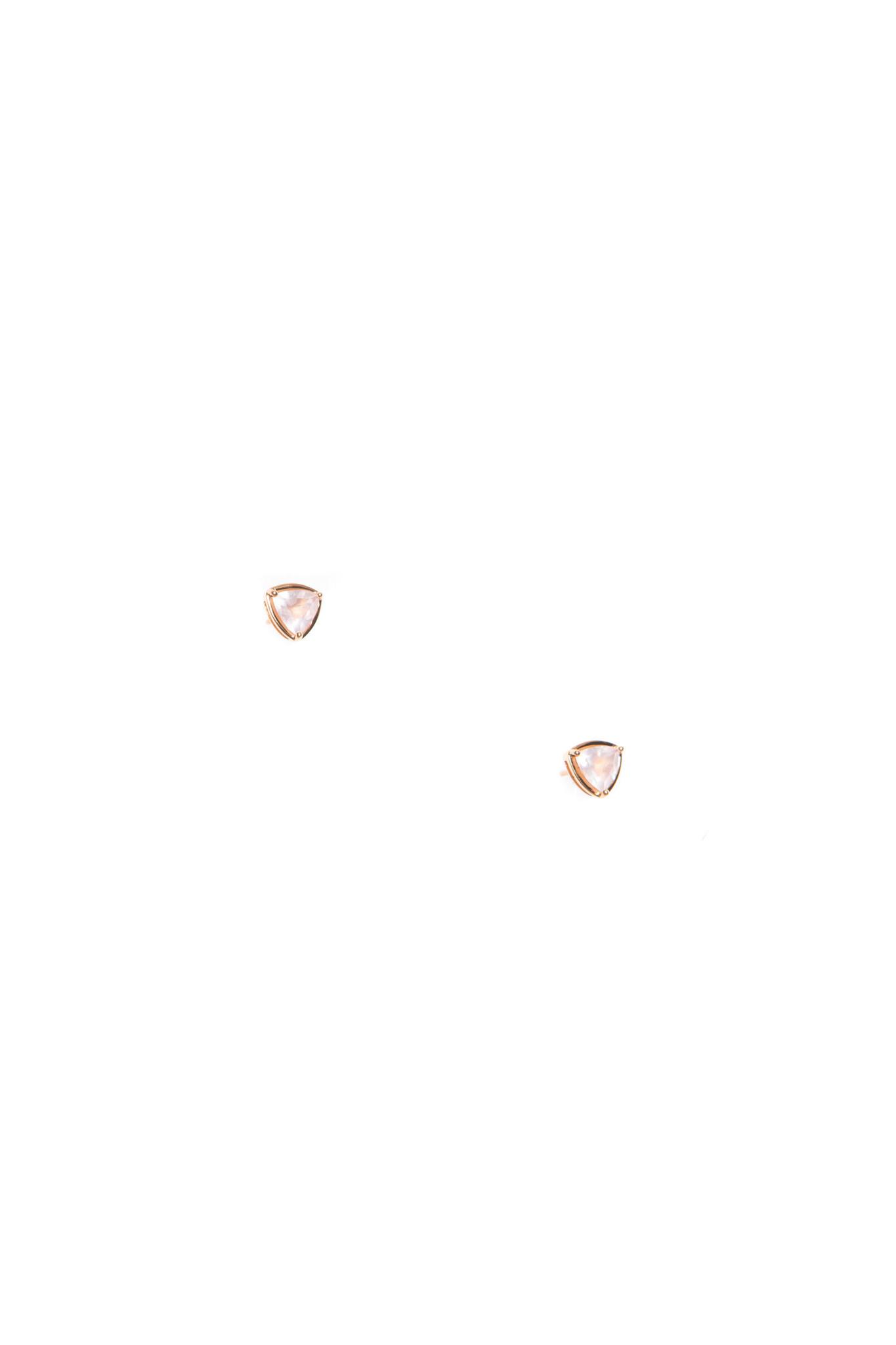 Hailey Gerrits Trillion Earrings- Rose Quartz