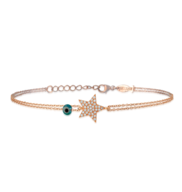 Kurshuni Jewellery Rose Gold Star Chain Bracelet