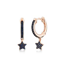 Kurshuni Jewellery Rose Gold Blue Cz Star Drop Hoops